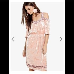 NWT Lucky Brand Velvet Cold Shoulder Pink Dress